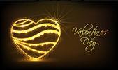Golden heart for Happy Valentines Day celebration. — Stockvector