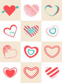 Collection of different hearts shape. — Stock Vector