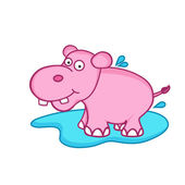 Funny cute cartoon of hippopotamus. — Stock Vector