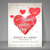 Night party flyer for Valentines Day celebration. — Stock Vector