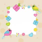 Blank frame with cute bird for Valentine's Day. — Vector de stock