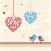 Happy Valentine's Day celebration with cute love bird. — Stok Vektör