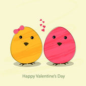Happy Valentine's Day concept with cute eggs. — Stock Vector