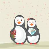 Cute penguins for Happy Valentine's Day celebration. — Stockvektor