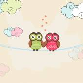 Happy Valentine's Day celebrations with owl couple. — Stock Vector