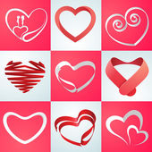 Collection of hearts for Valentines Day celebration. — Stock Vector