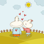 Funny cartoon couple for Valentine's Day. — Stockvector