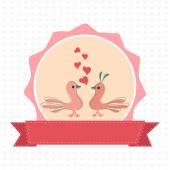 Happy Valentine's Day celebration with cute love birds. — Stock Vector