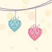 Happy Valentine's Day celebration with hanging hearts. — Stock Vector