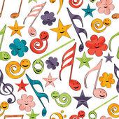 Notas musicais com padrão sem emenda. — Vetor de Stock