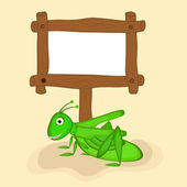 Concept of grasshopper with blank wooden board. — Stock Vector
