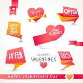 Valentines Day celebration tags or labels. — Stockvektor