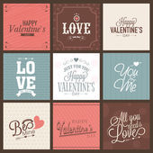 Collection of greeting card for Valentines Day celebration. — Stock Vector