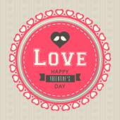 Sticker or label for Happy Valentines Day celebration. — Vector de stock