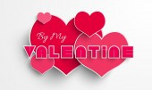 Happy Valentine's Day celebration with pink heart. — Stock Vector