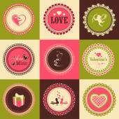 Set of stickers or labels for Happy Valentines Day. — Stok Vektör