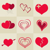 Happy Valentine's celebration with collection of hearts. — Vetor de Stock