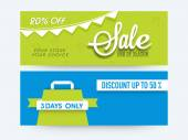 Sale web header or banner set. — Vetor de Stock