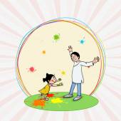 Cute girl with her father for Holi festival celebration. — Stock Vector