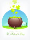Happy St. Patrick's Day celebration with earthenware. — Stock Vector