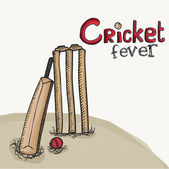 Cricket bat with ball and wicket stumps. — Stock Vector