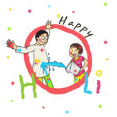 Cute boy with his father for Happy Holi celebration. — Stock Vector