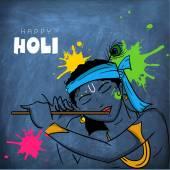 Indian festival, Holi celebration with Lord Krishna. — Stock Vector