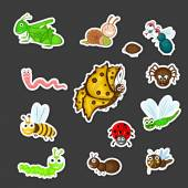 Collection of cute insects cartoon. — Stock Vector