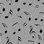 Musical notes in black and white color. — Stock Vector