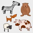 Set of wild and pet animal characters. — Stock vektor #67866141