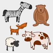 Set of wild and pet animal characters. — Stock Vector