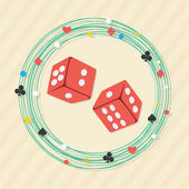 Red dices with frame for Casino. — Stock Vector
