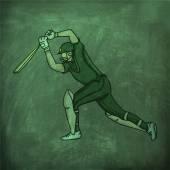 クリケットのスポーツ コンセプトのアクションの再生で打者. — ストックベクタ