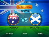 Austrálie vs. Skotsko kriketový zápas plán do roku 2015. — Stock vektor