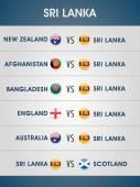 スリランカのクリケット試合スケジュール 2015. — ストックベクタ
