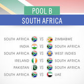 Cricket match schedule of South Africa. — Stock Vector