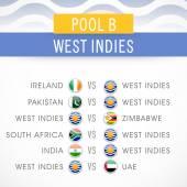 Cricket match schedule of West Indies. — Stock Vector