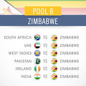 Cricket World Cup 2015 time table. — Stock Vector