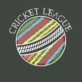 Cricket League concept with colorful ball. — Stock Vector