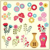 Colorful flowers set. — Stock Vector