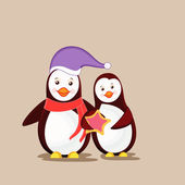 Charater of two penguine with Christmas  celebration. — Stock Vector