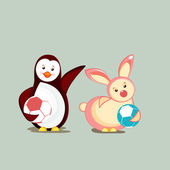 Character of penguine and rabbit in dancing mood. — Stock Vector