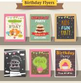 Set of Birthday flyers. — Stock Vector