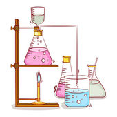 Laboratory equipments with liquids. — Stock Vector