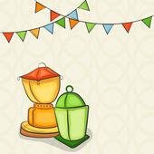Ramadan Kareem celebration with arabic lanterns. — Stock Vector