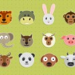 Set of animal faces. — Vector de stock  #70197065