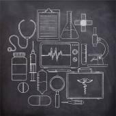 Tıbbi öğeleri kümesi. — Stok Vektör