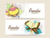 Website header or banner set for Ramadan Kareem celebration. — Stock Vector