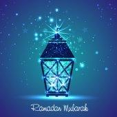 Shiny Arabic lamp for holy month Ramadan Kareem celebration. — Vecteur