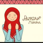 Praying Muslim lady for Ramadan Kareem celebration. — Stock Vector